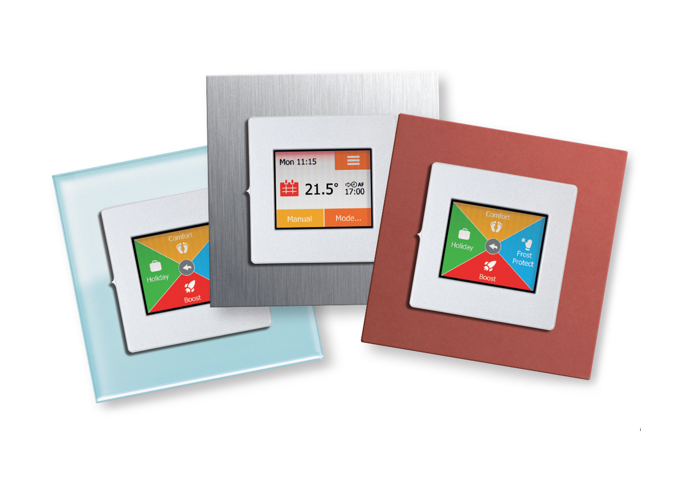 Group of Heat Mat NGTouch thermostats with premium frames