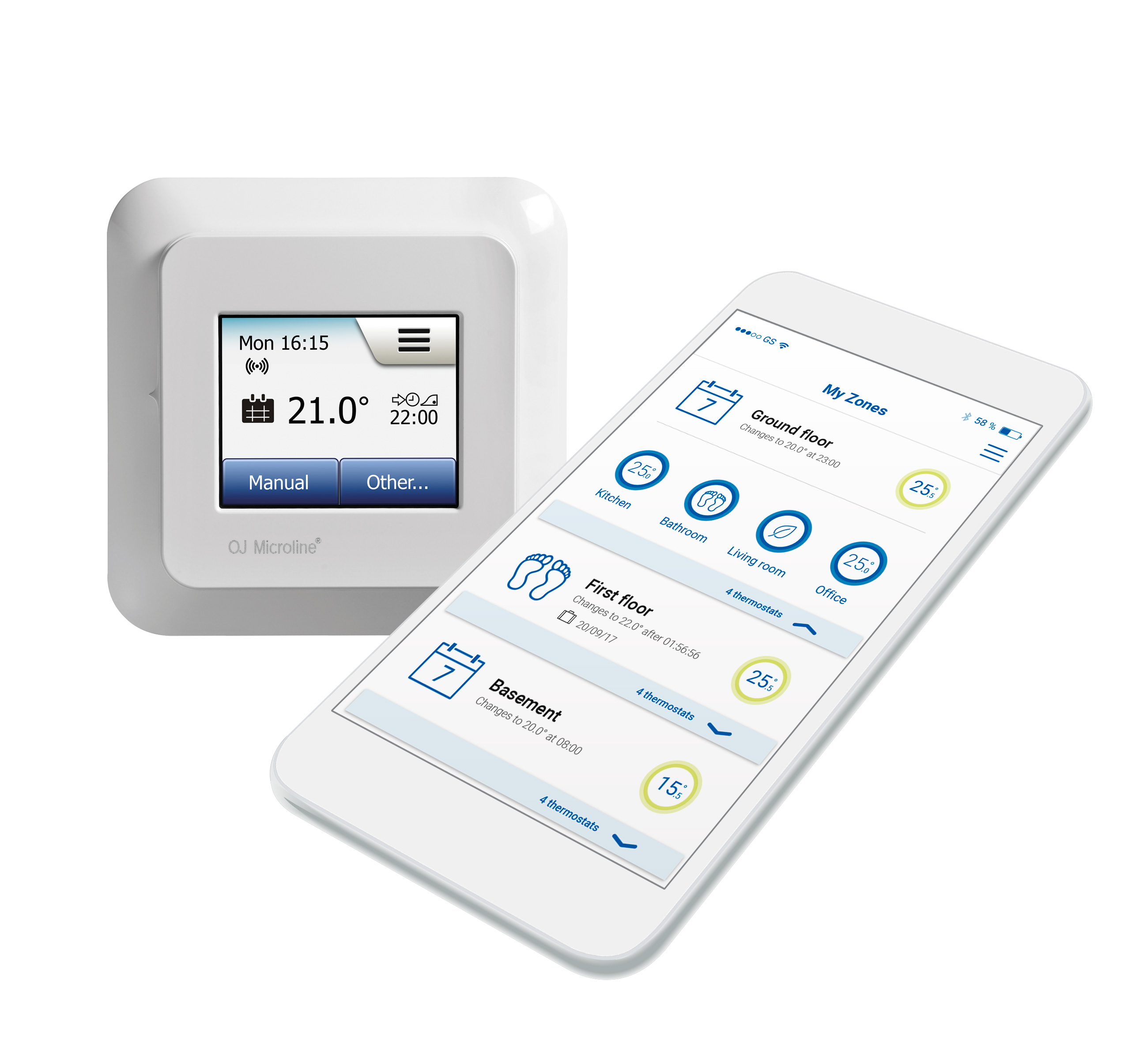 NGTouch wifi thermostat home and app screens